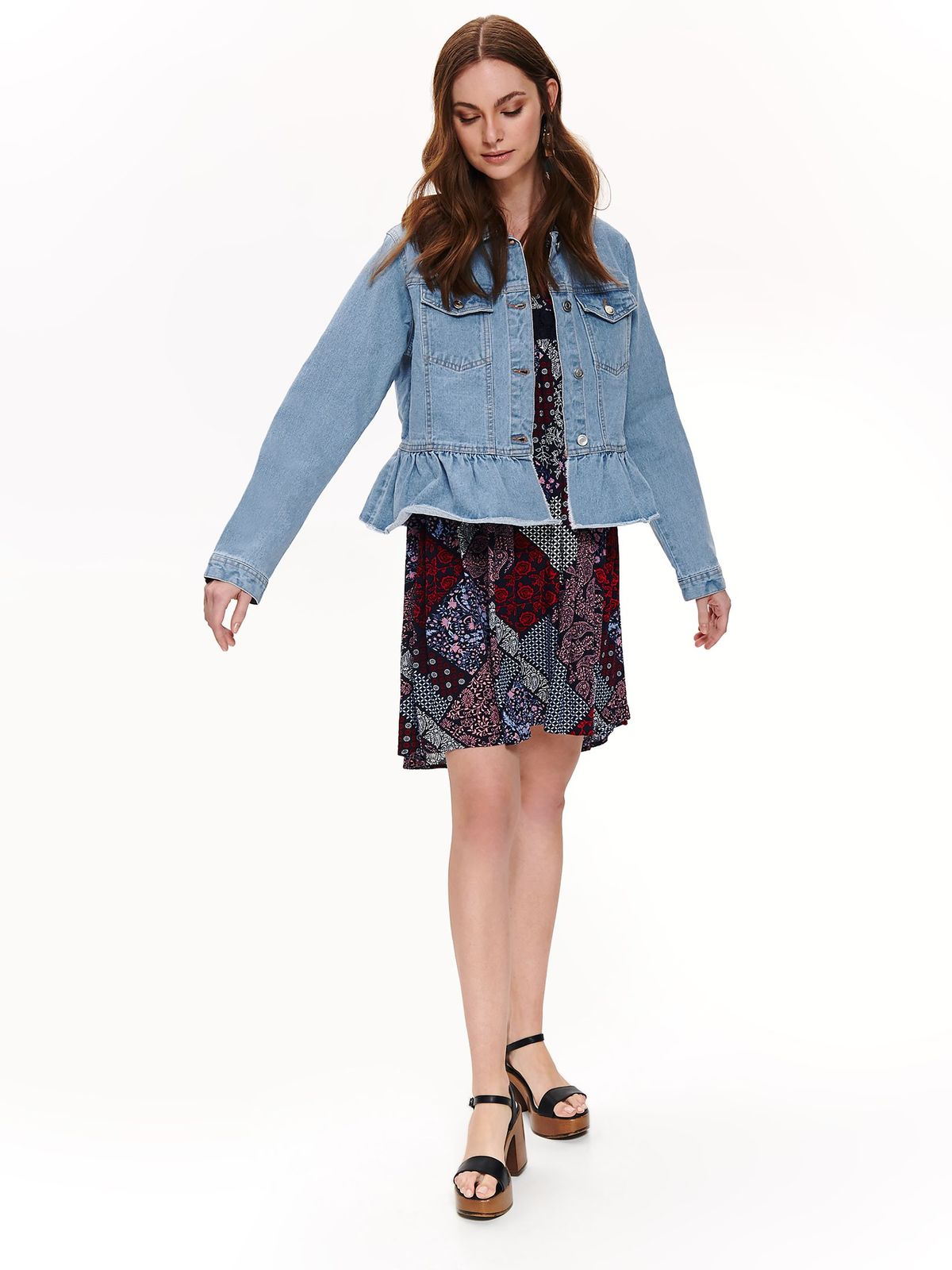 Top Secret blue casual denim jacket with straight cut with ruffle details
