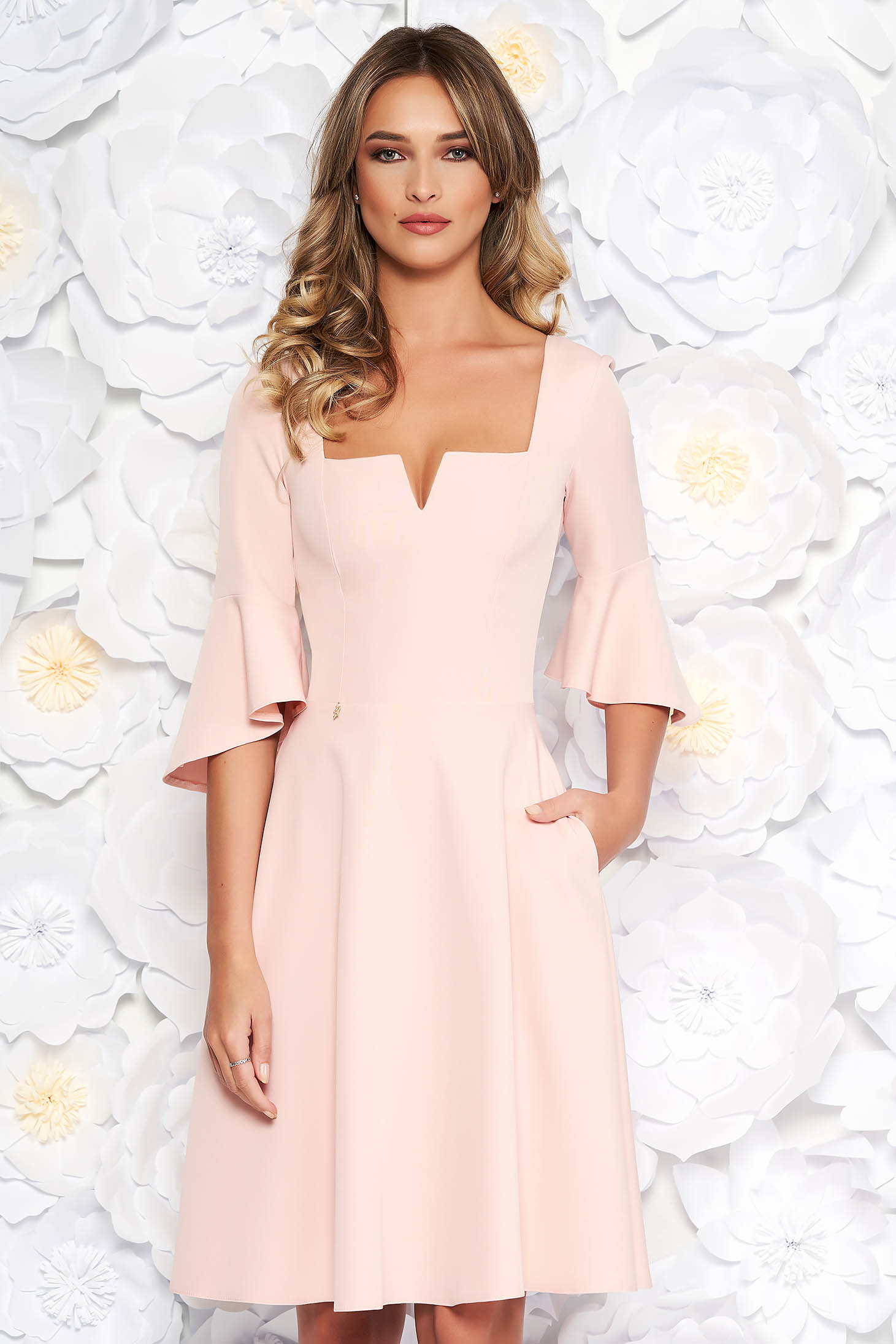 Peach StarShinerS office midi cloche dress soft fabric with ruffled sleeves