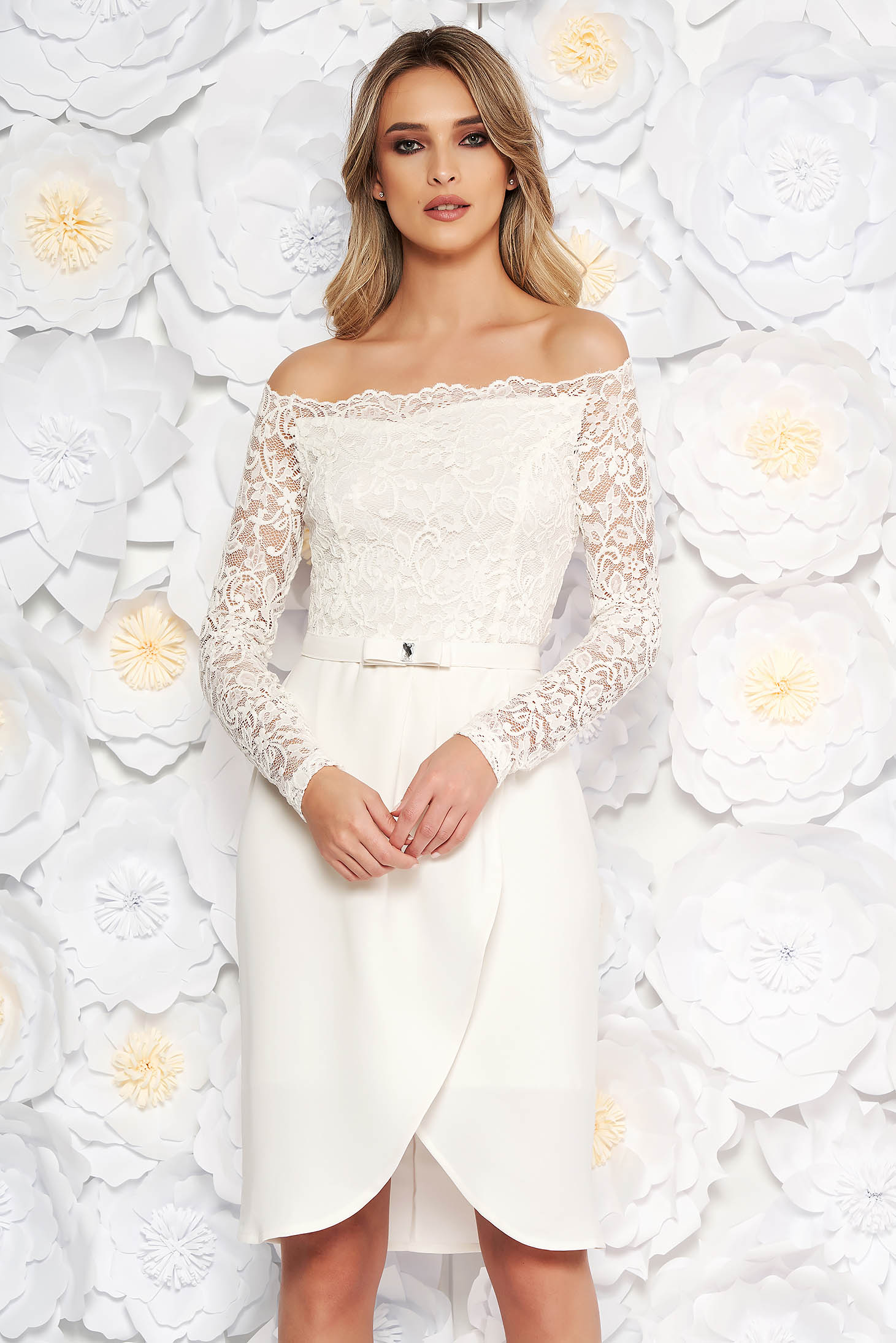 Rochie StarShinerS alba eleganta midi din stofa si dantela accesorizata cu cordon