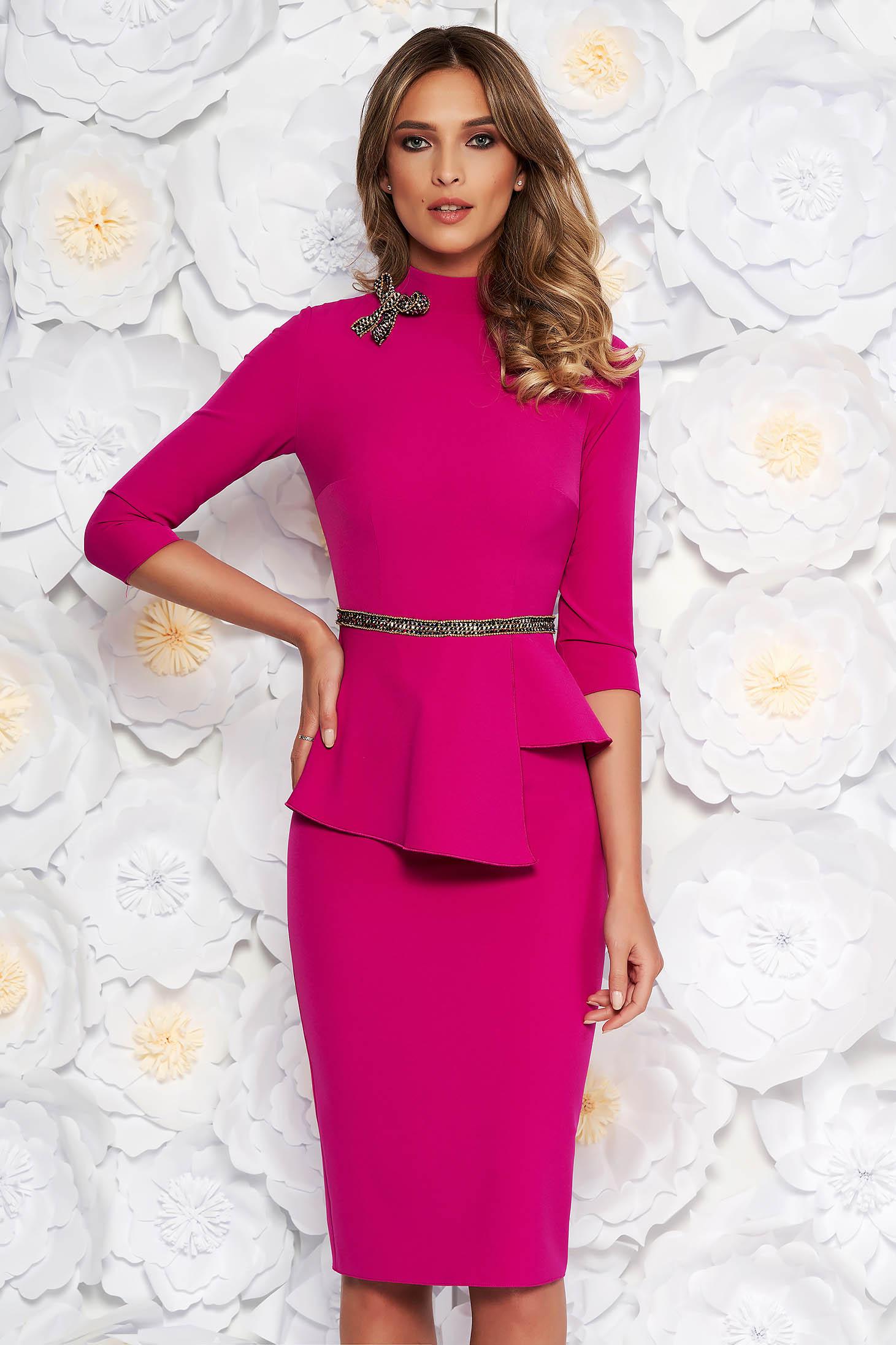 Fuchsia elegant midi pencil dress slightly elastic fabric frilled