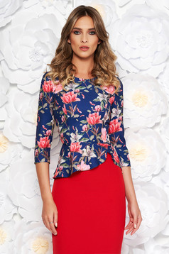 StarShinerS blue elegant short cut women`s blouse frilled from non elastic fabric with floral prints