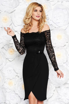 StarShinerS black elegant midi cloth laced dress accessorized with tied waistband