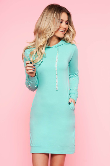 SunShine mint daily dress slightly elastic cotton with tented cut with small beads embellished details with pockets