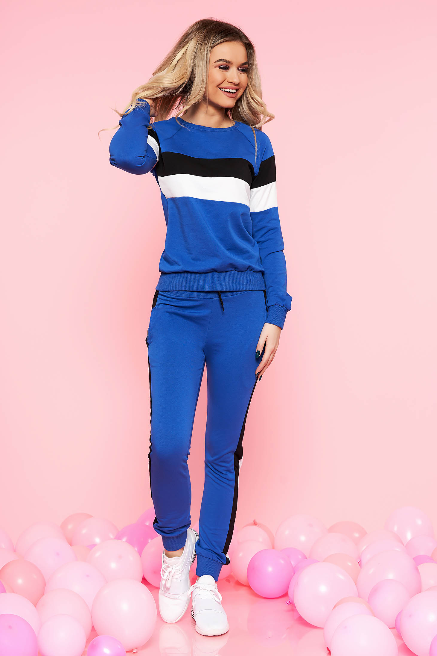 SunShine blue set casual with trousers slightly elastic cotton with pockets