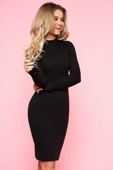 SunShine black daily dress elastic cotton with tented cut long sleeve
