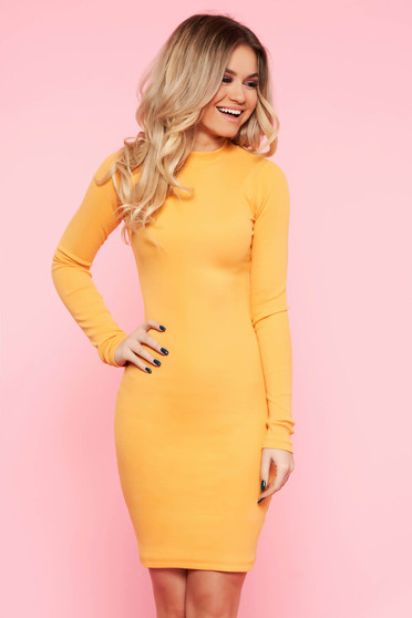 SunShine mustard daily dress elastic cotton with tented cut long sleeve