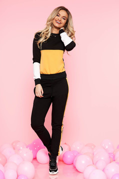 SunShine black casual set slightly elastic cotton with pockets is fastened around the waist with a ribbon