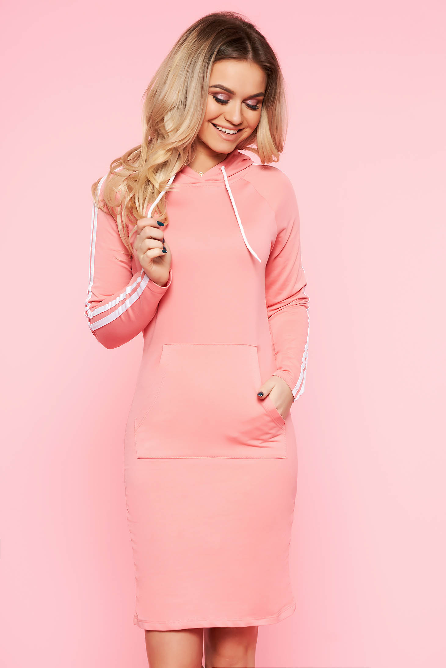 SunShine lightpink daily long sleeve dress slightly elastic cotton with pockets