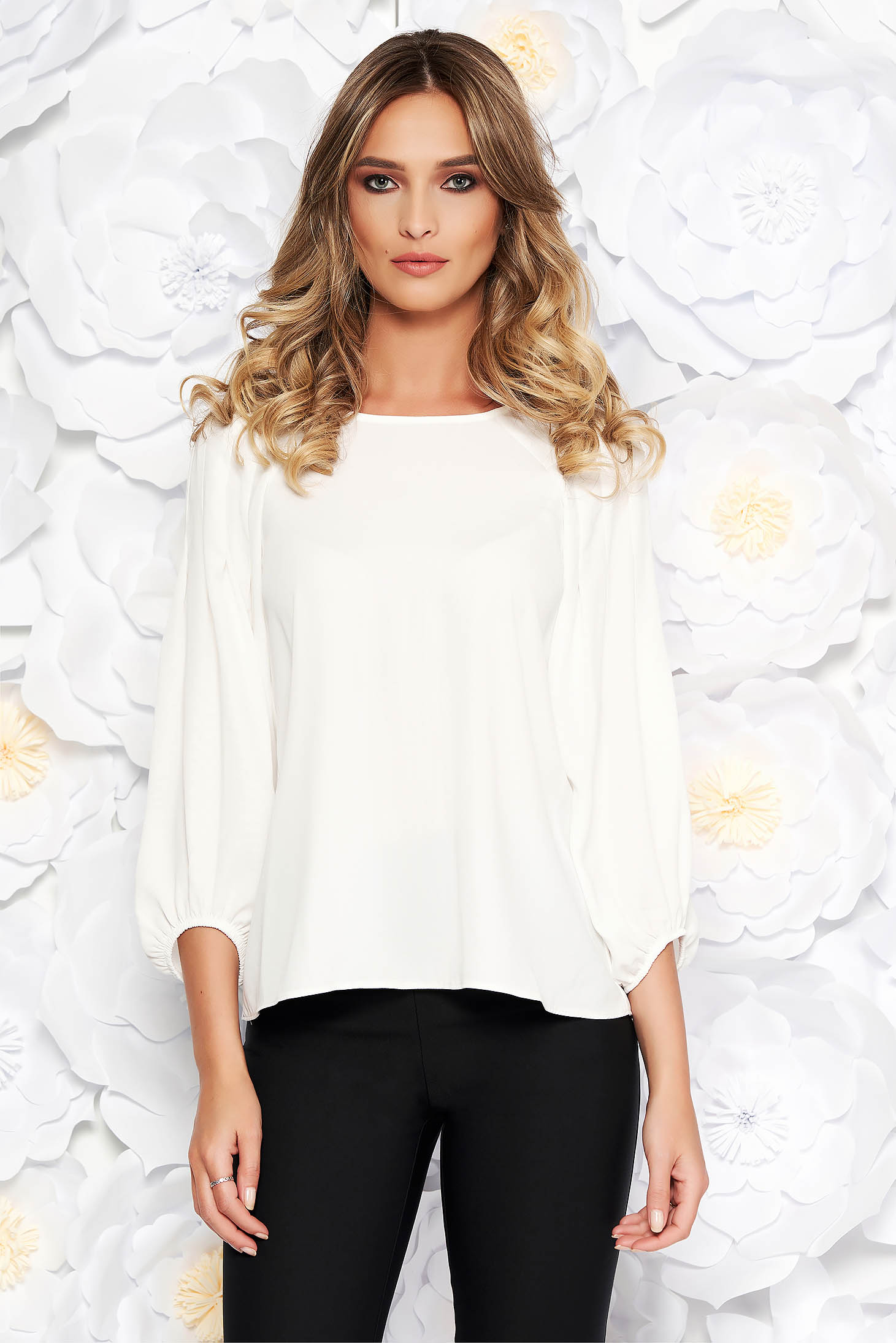 White office flared women`s blouse airy fabric elastic held sleeves