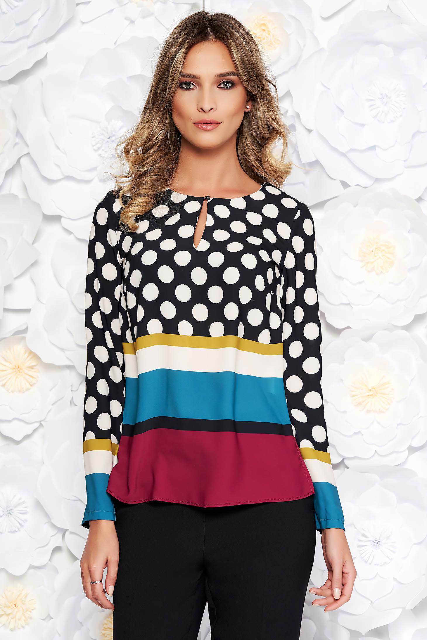 Black elegant flared women`s blouse airy fabric long sleeved