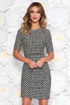 StarShinerS black daily midi pencil dress slightly elastic fabric short sleeves