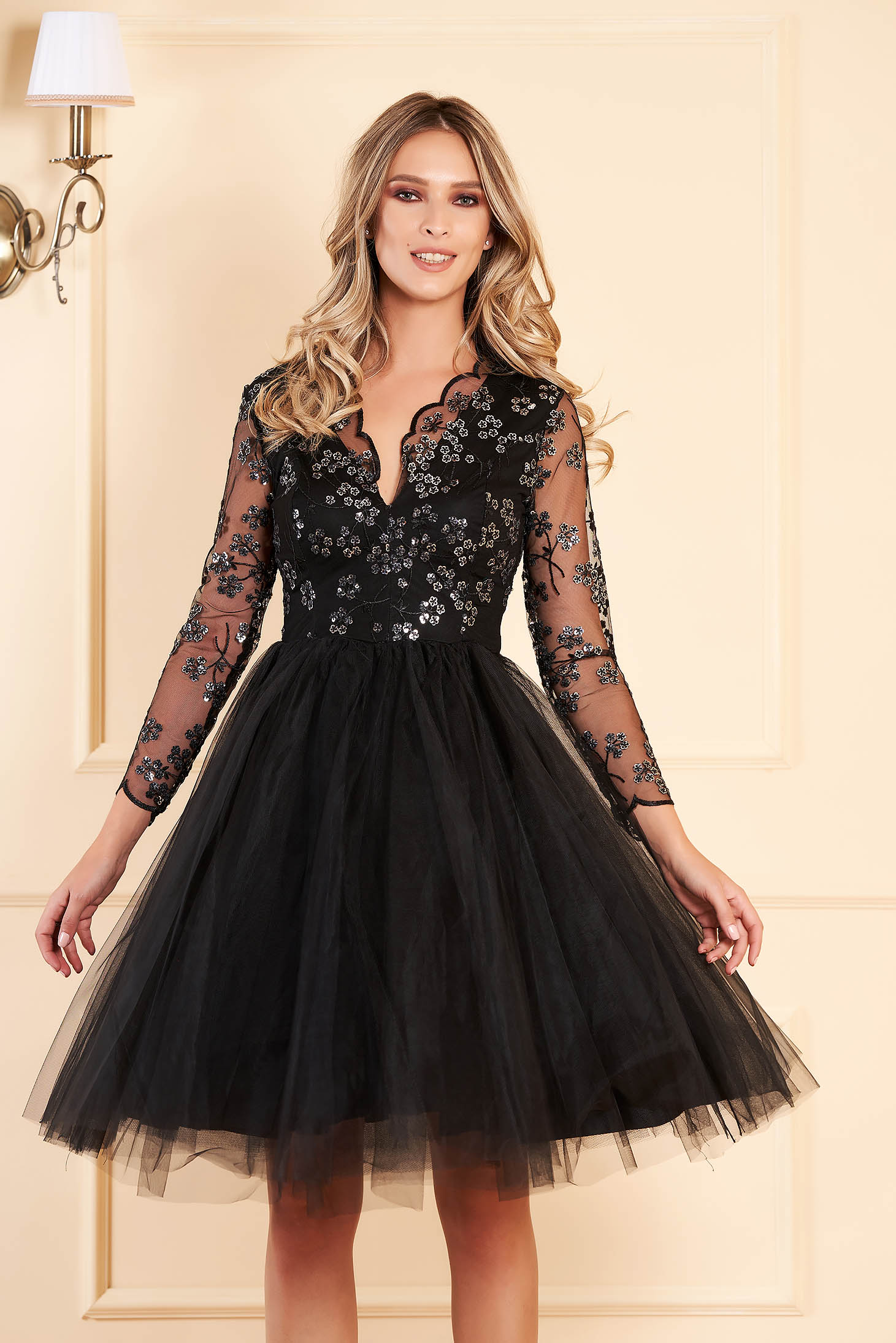 Artista black occasional cloche dress from tulle with sequins with inside lining with embroidery details