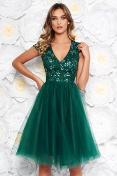 Artista green occasional cloche dress from tulle with sequins with inside lining with embroidery details