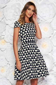 Black elegant cloche dress nonelastic cotton with inside lining with geometrical print