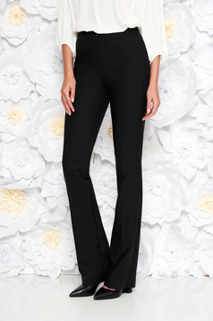 Black office flared trousers nonelastic cotton with medium waist