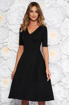 Black office midi cloche dress slightly elastic fabric with v-neckline short sleeves