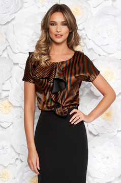 StarShinerS brown elegant flared women`s blouse from satin fabric texture with ruffle details
