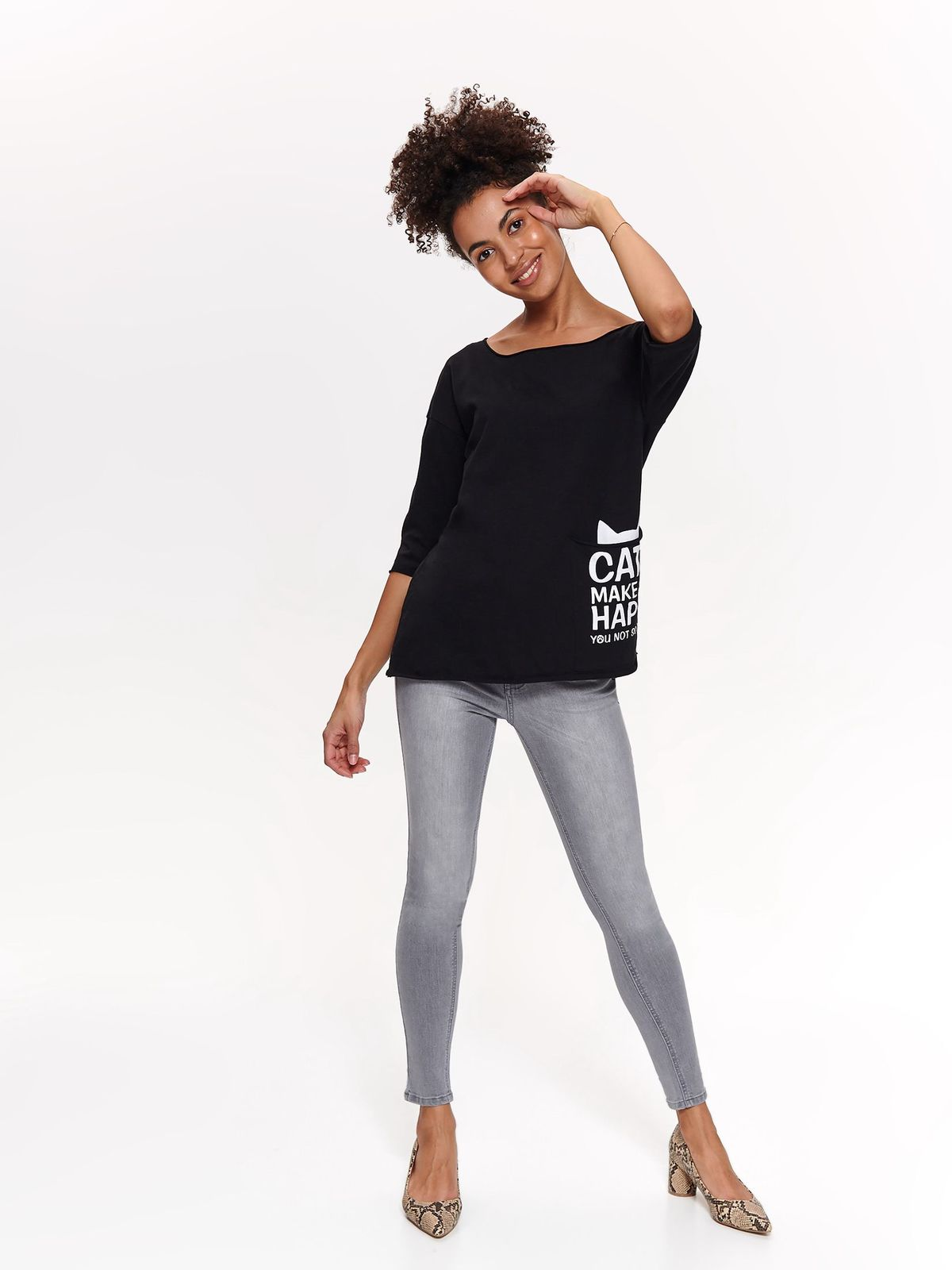 Top Secret black casual flared t-shirt cotton texted