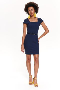 Top Secret darkblue daily dress with tented cut accessorized with belt