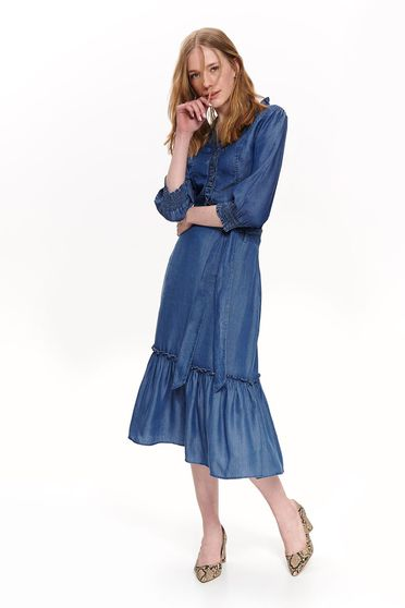 Top Secret blue casual women`s shirt with 3/4 sleeves airy fabric frilly trim around cleavage line