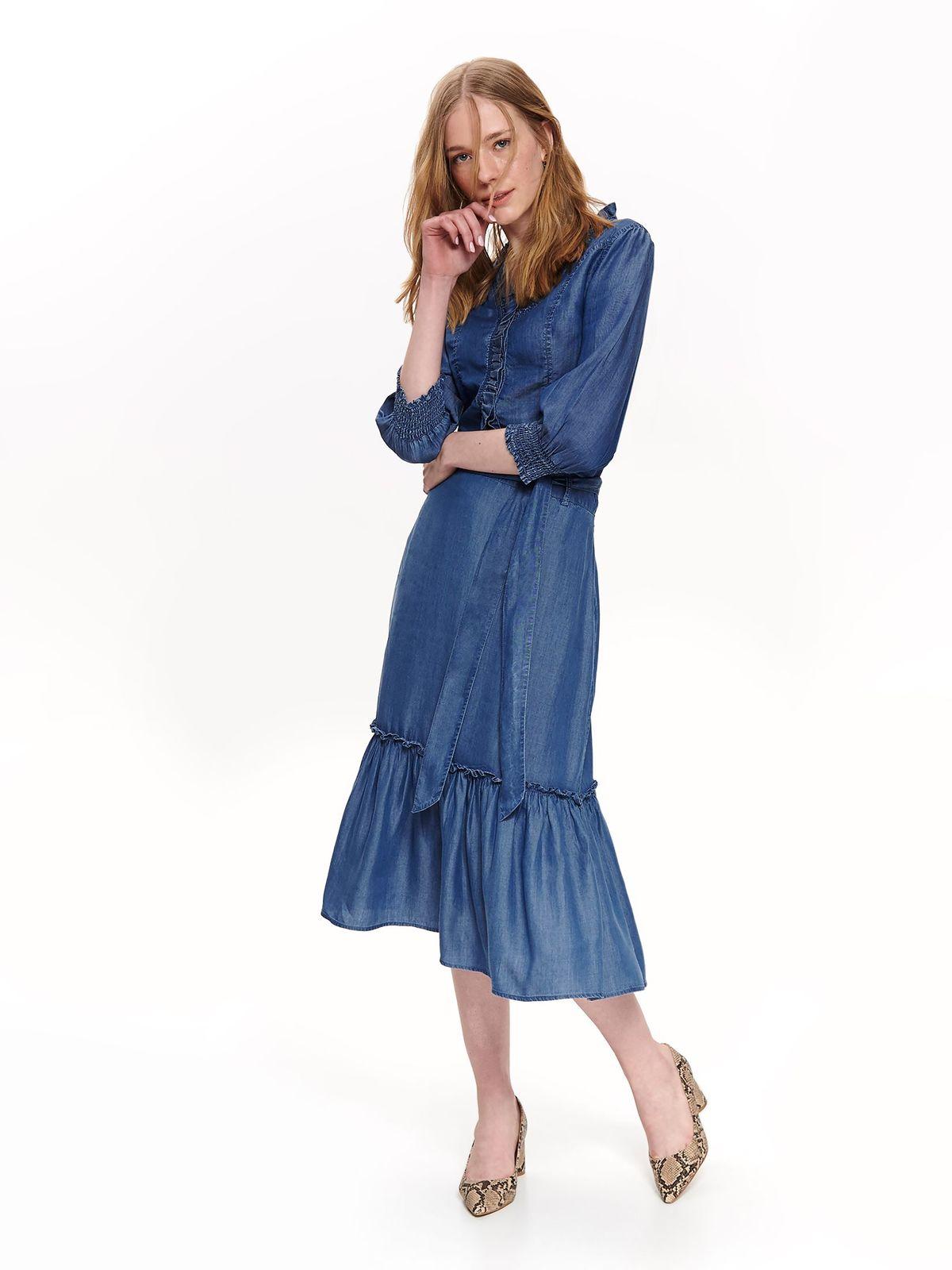 Camasa dama Top Secret albastra casual din denim cu maneci trei-sferturi si volanase pe linia decolteului