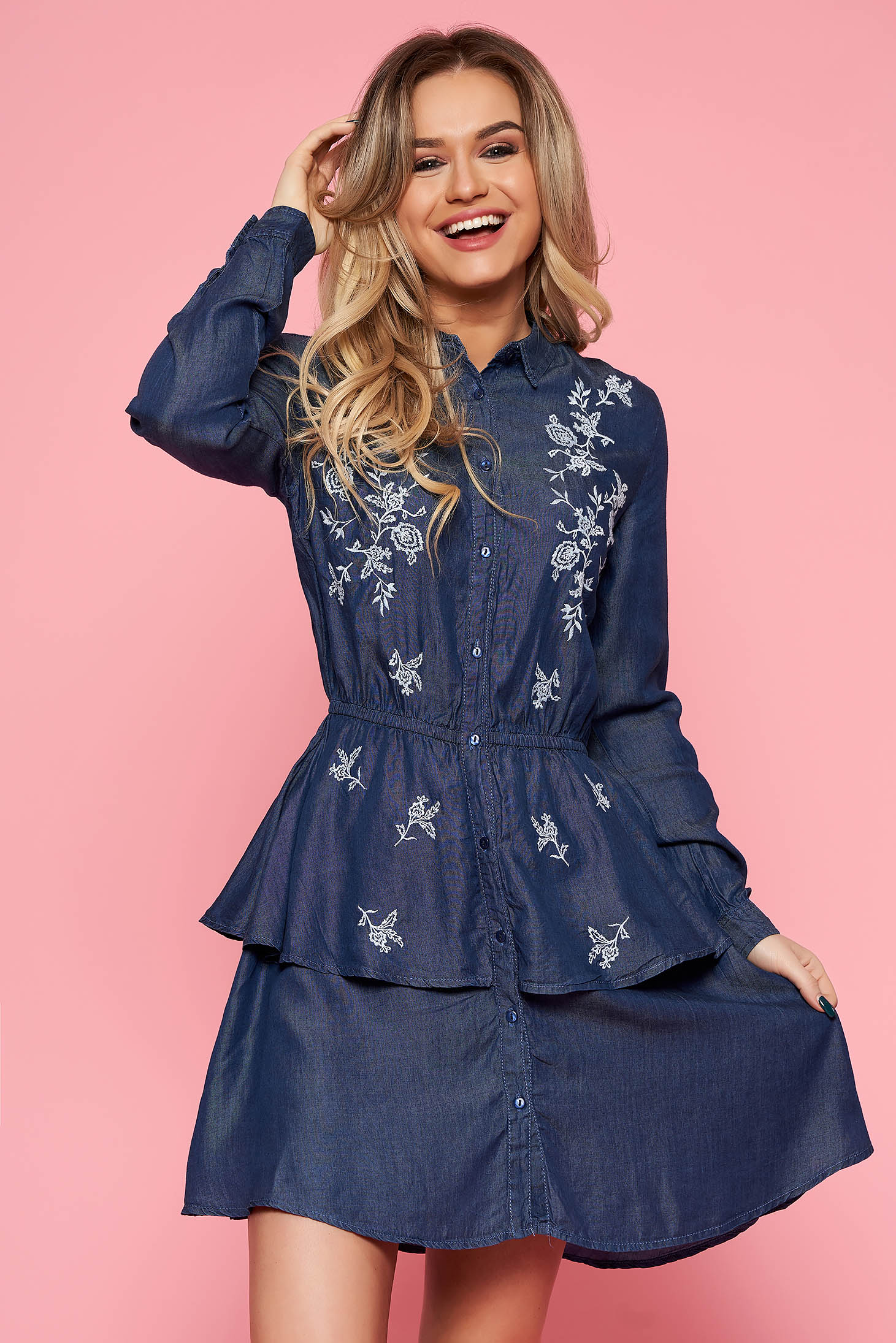 Top Secret blue casual cloche dress with elastic waist airy fabric with embroidery details