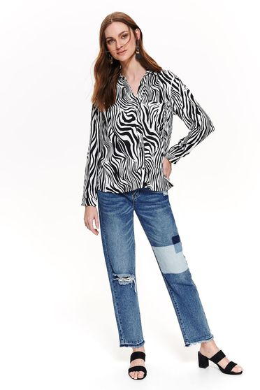 Top Secret black casual flared women`s shirt airy fabric long sleeved