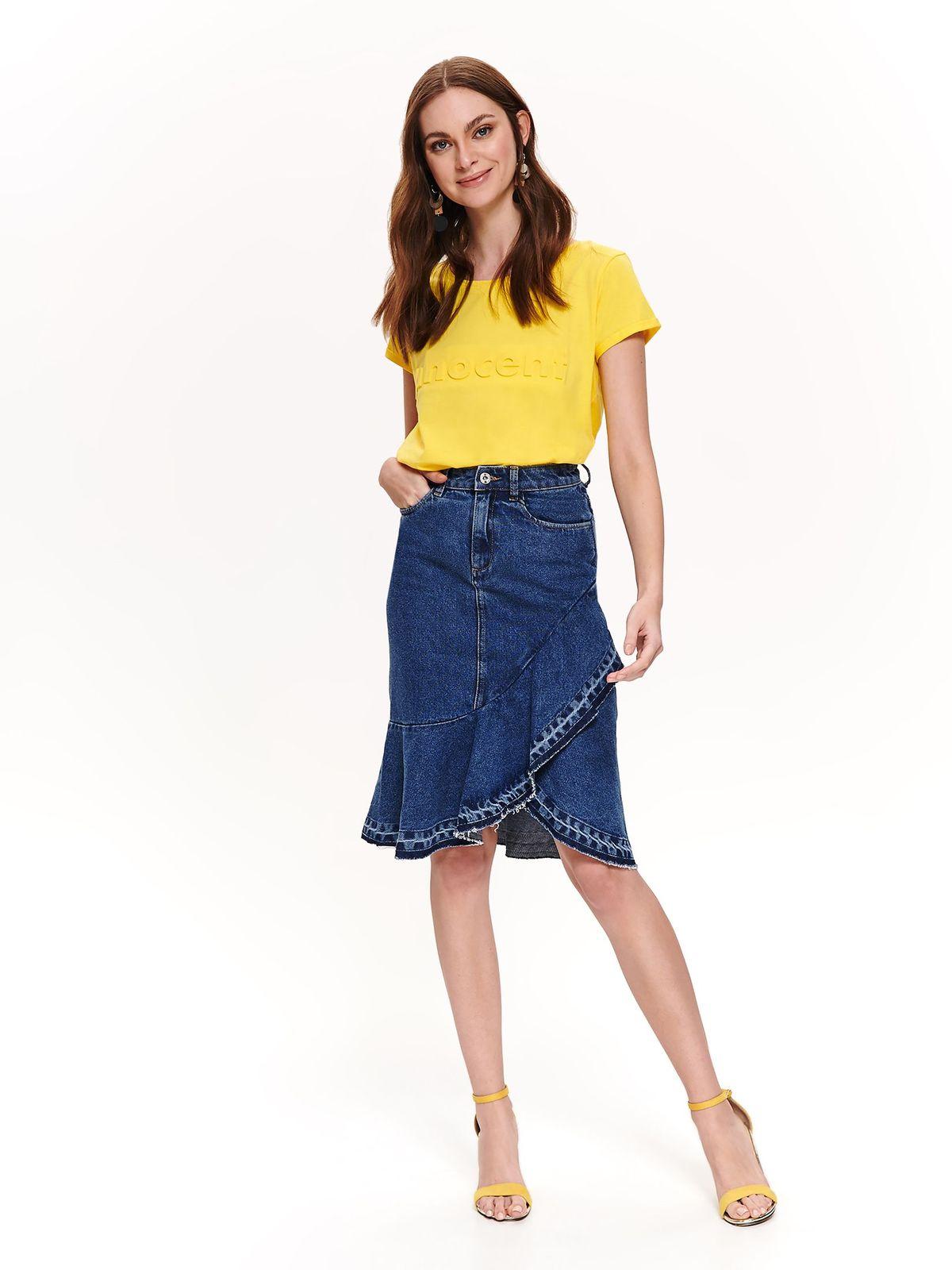 Top Secret yellow casual flared t-shirt cotton short sleeve