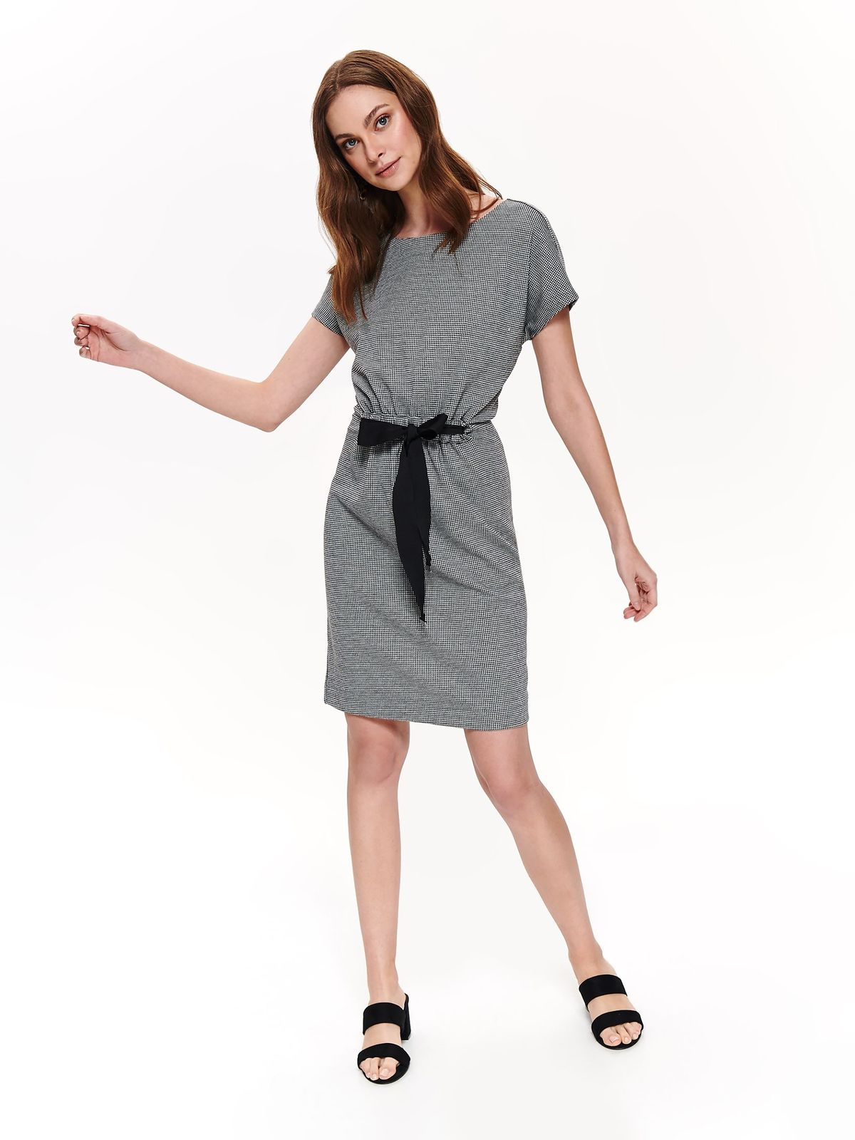 Top Secret black daily dress short sleeve airy fabric is fastened around the waist with a ribbon