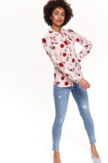 Top Secret rosa casual women`s shirt long sleeved airy fabric with floral print