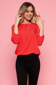 Top Secret red casual flared women`s blouse airy fabric dots print