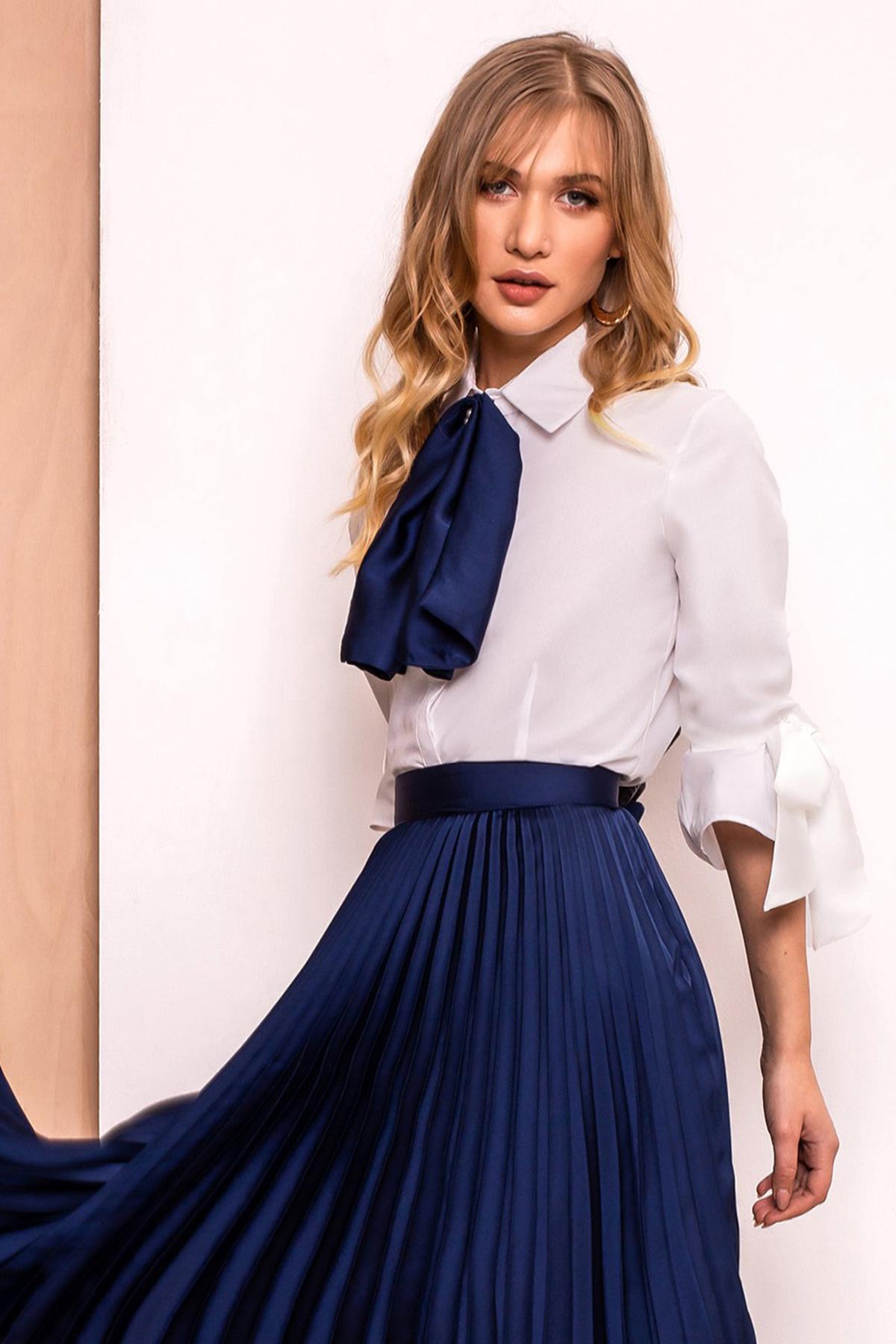 Camasa dama PrettyGirl albastru-inchis eleganta cu un croi mulat din material usor elastic cu maneci trei-sferturi