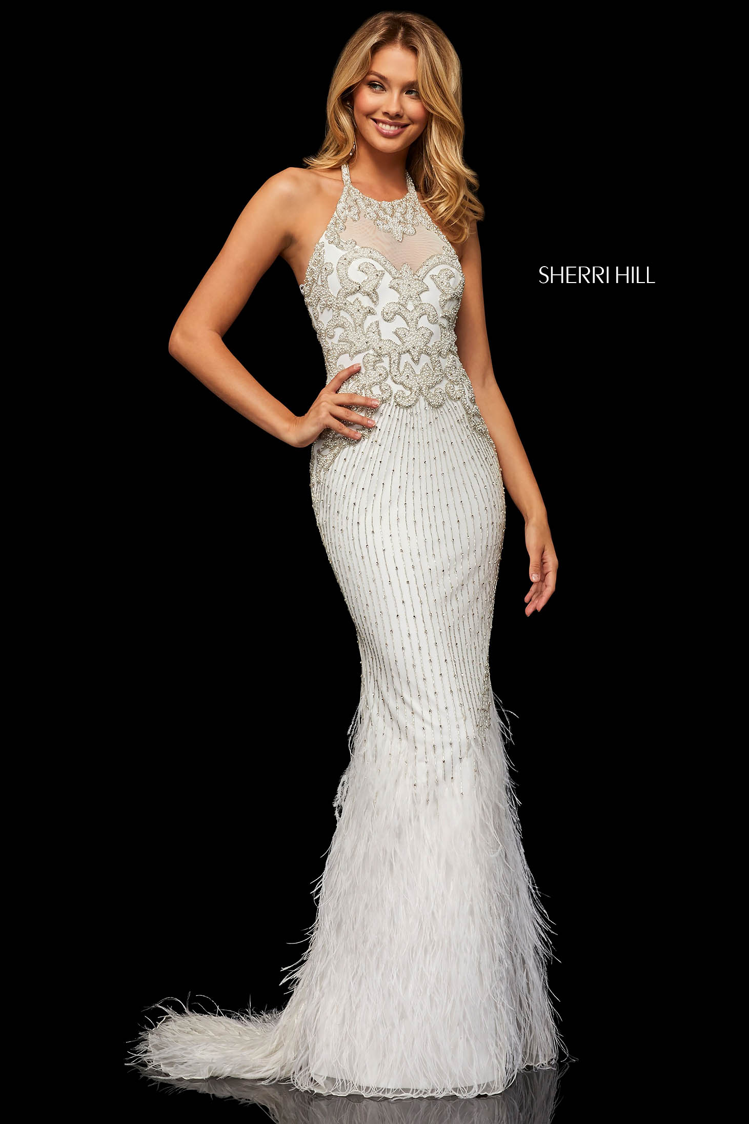Rochie Sherri Hill 52517 White