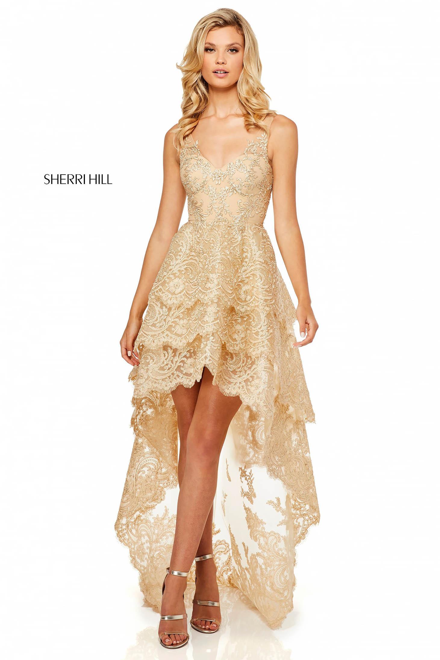 Rochie Sherri Hill 52694 Gold