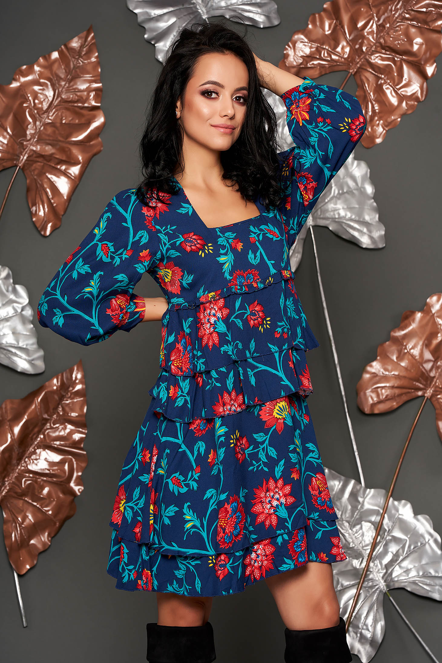 Darkblue dress casual flared airy fabric with ruffle details with floral prints