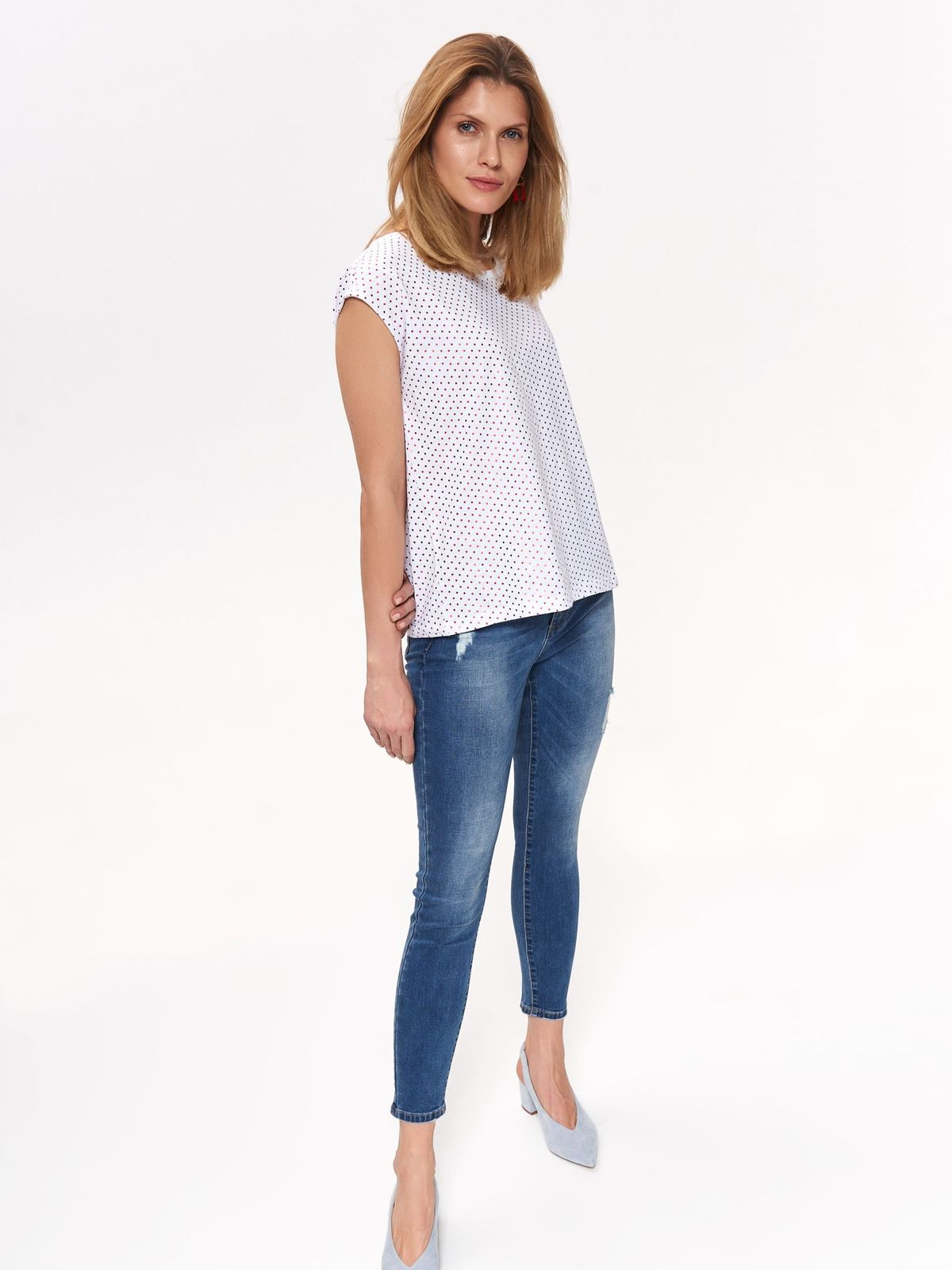 Top Secret white casual flared t-shirt cotton dots print