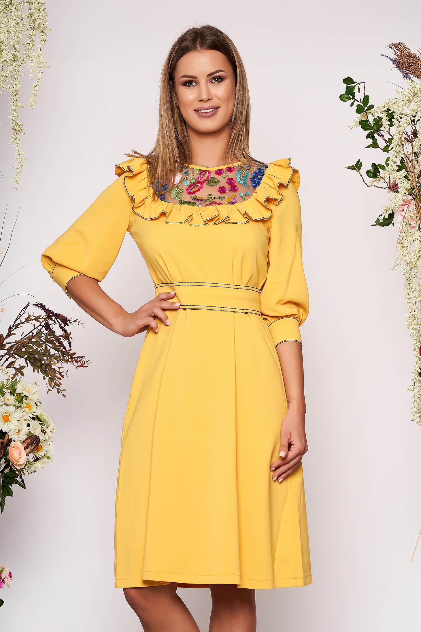 Sárga LaDonna elegáns bő szabású ruha enyhén rugalmas szövetből