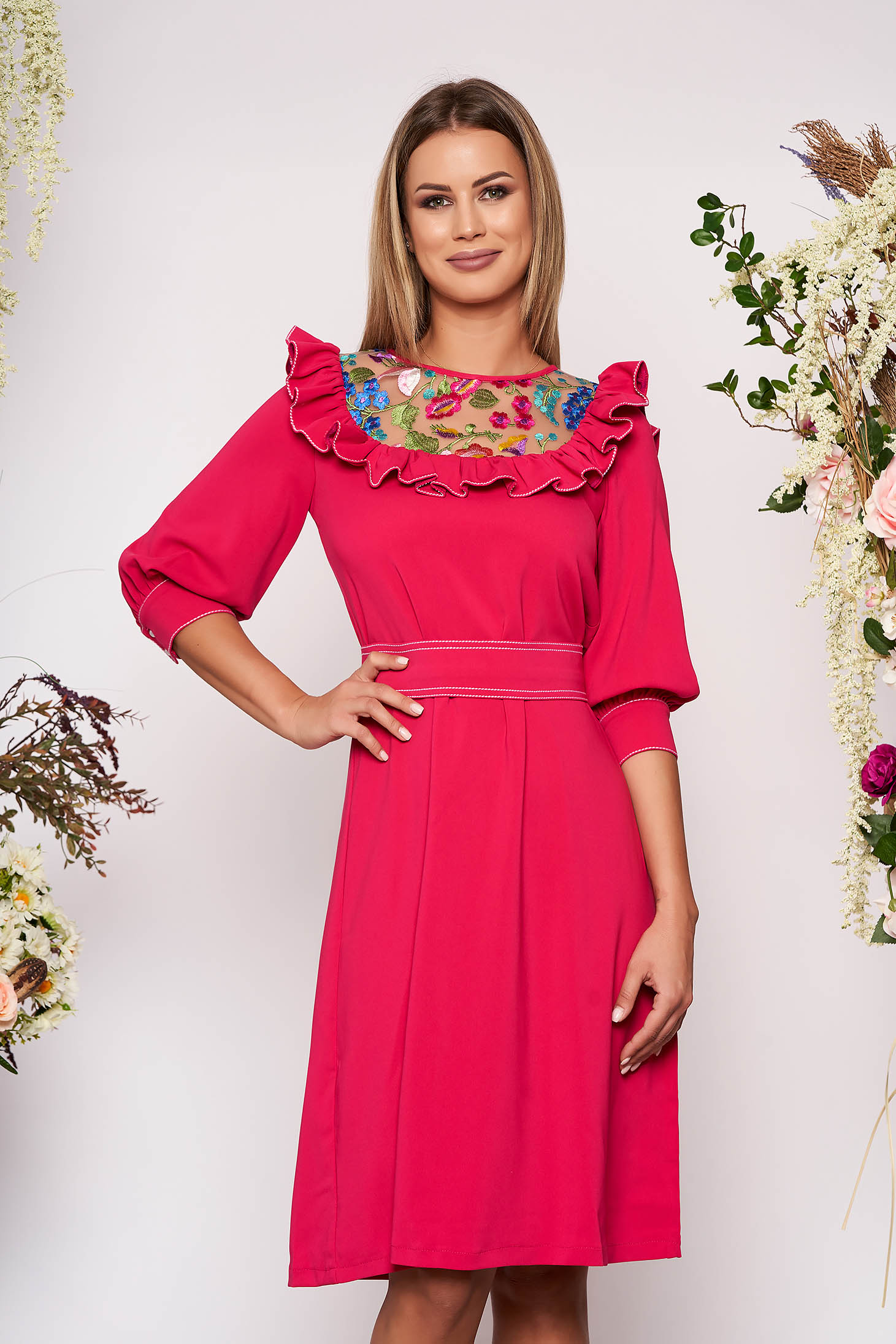 LaDonna fuchsia elegant flared dress slightly elastic fabric embroidered with inside lining accessorized with tied waistband