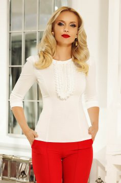 Fofy white office women`s shirt with tented cut elastic cotton with ruffle details