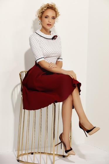 Fofy burgundy office cloche skirt slightly elastic fabric high waisted