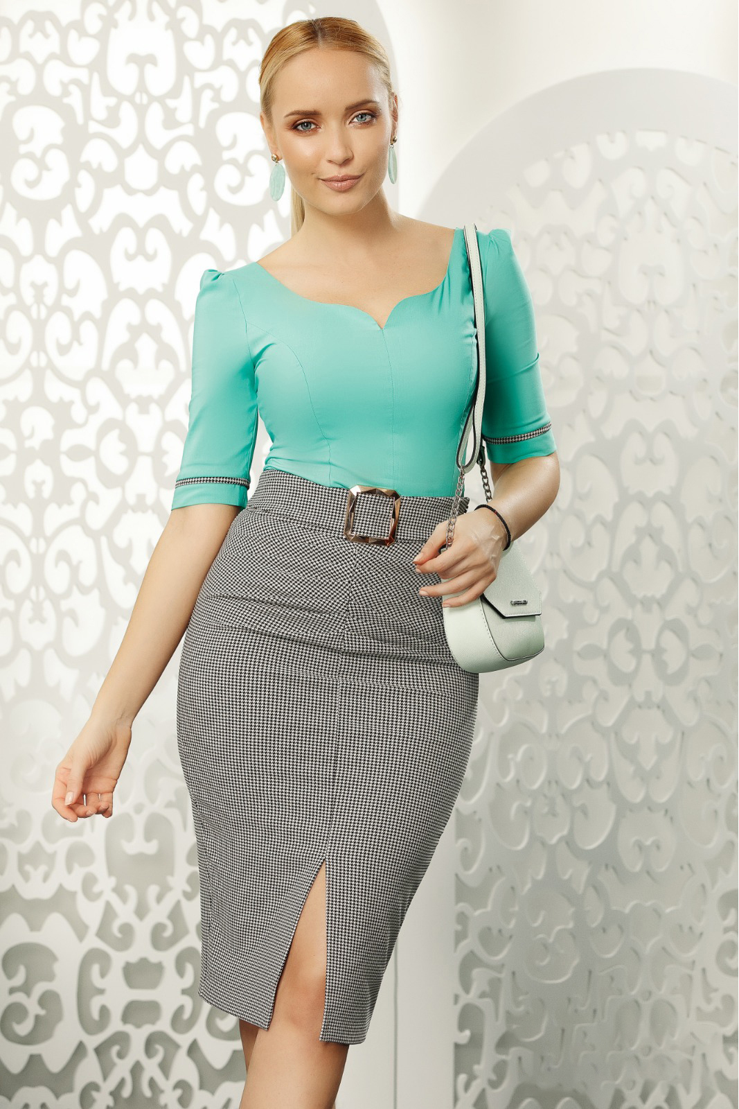 Fofy grey skirt midi high waisted pencil office accessorized with tied waistband
