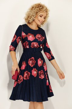 Fofy darkblue elegant folded up cloche dress with floral prints accessorized with tied waistband