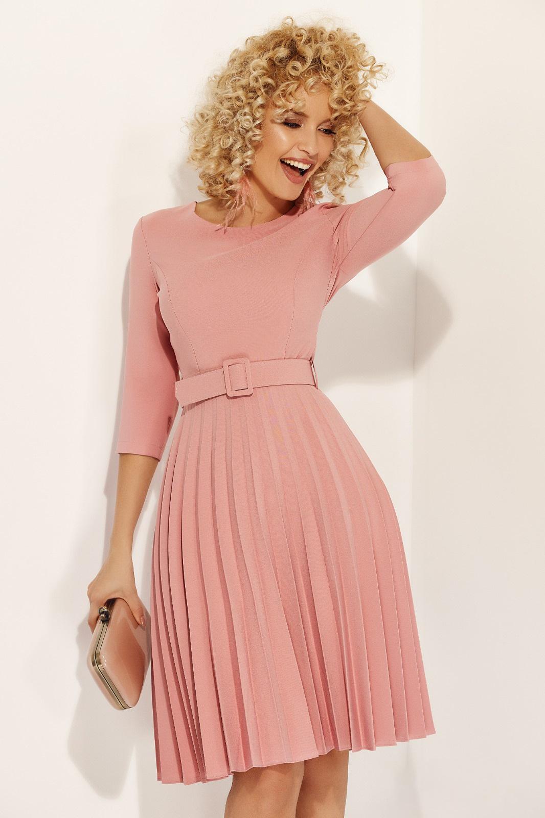 Fofy rosa elegant folded up cloche dress accessorized with tied waistband slightly elastic fabric