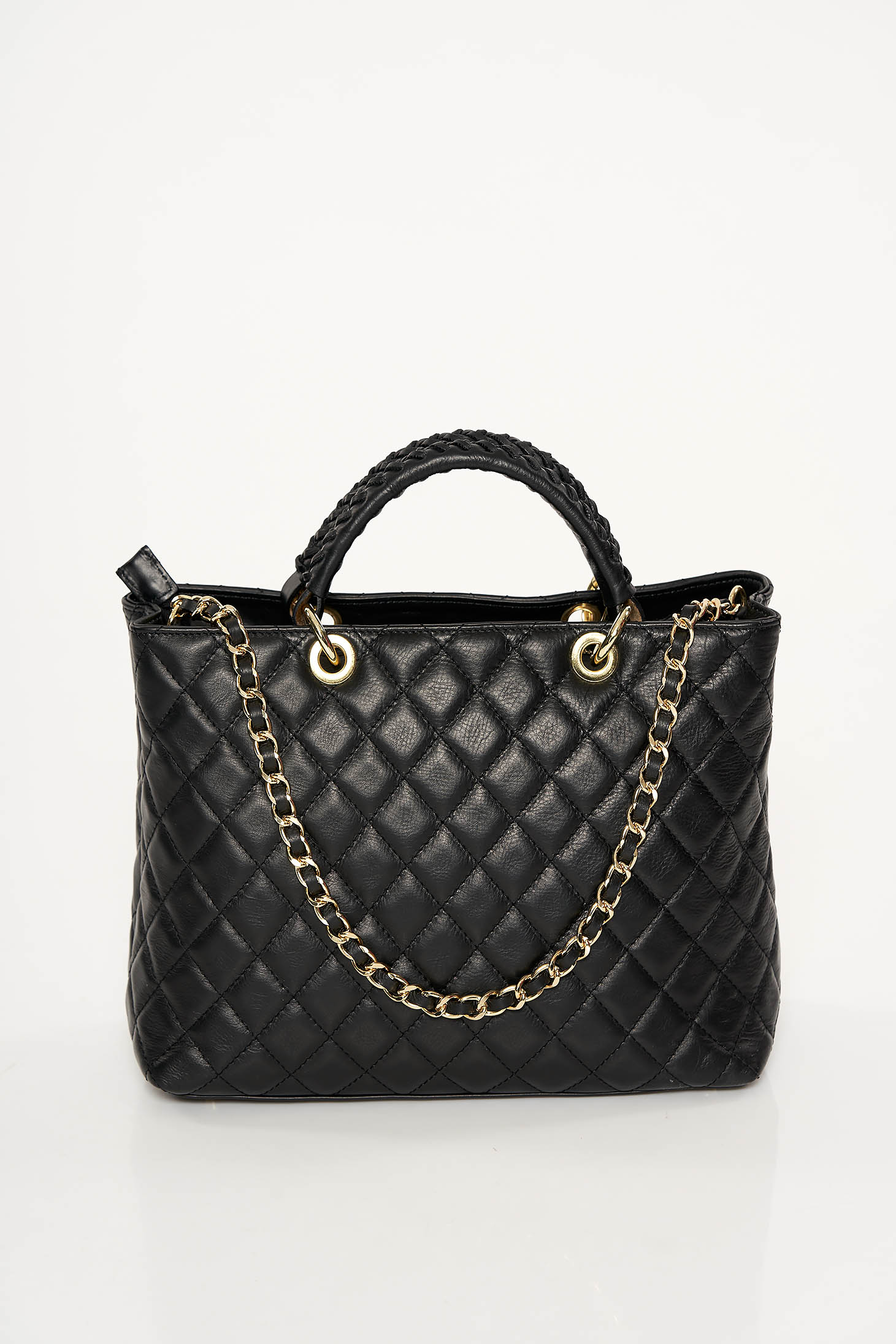 Black office bag natural leather long chain handle
