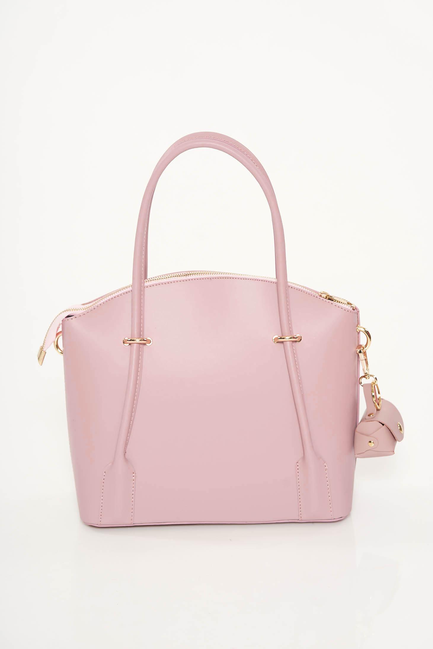 Geanta dama roz deschis office din piele naturala cu doua compartimente si buzunare interioare