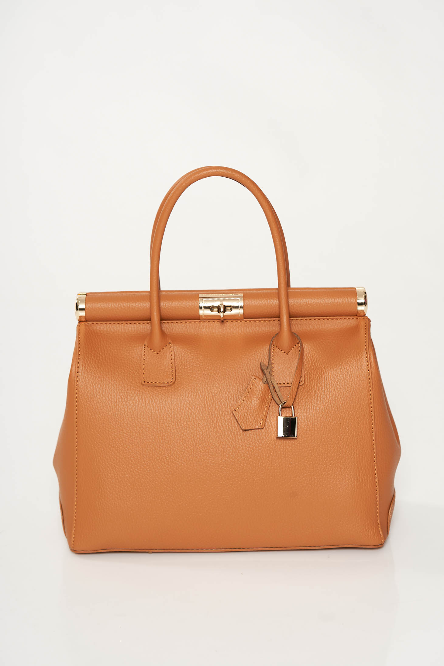Brown office bag from ecological leather medium handles