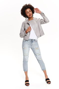 Top Secret grey casual jacket from ecological leather with inside lining with pockets