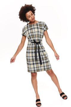 Top Secret black casual dress slightly elastic fabric with elastic waist accessorized with tied waistband with chequers