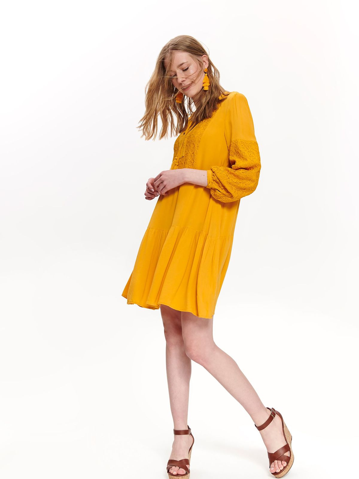 Top Secret yellow casual flared dress airy fabric with lace details