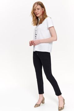 Top Secret white casual flared t-shirt slightly elastic cotton texted with print details
